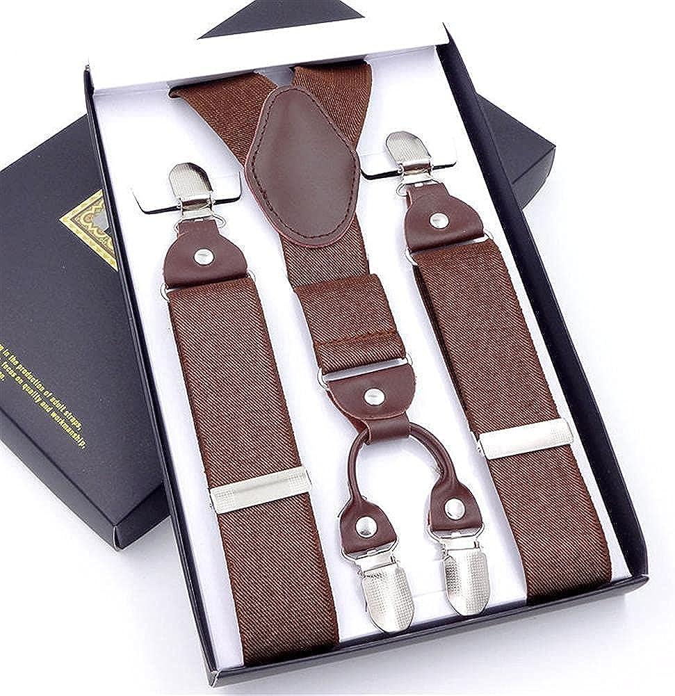 Suspenders Leather Alloy 4 Clips Braces Male Unisex Casual Suspensorio Trousers Strap Mens