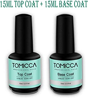 (2x15ml)Base Coat and No Wipe Top Coat Set for Soak Off Nail Gel Polish Dry Fast with UV/LED Lamp Long Lasting Shine Finish