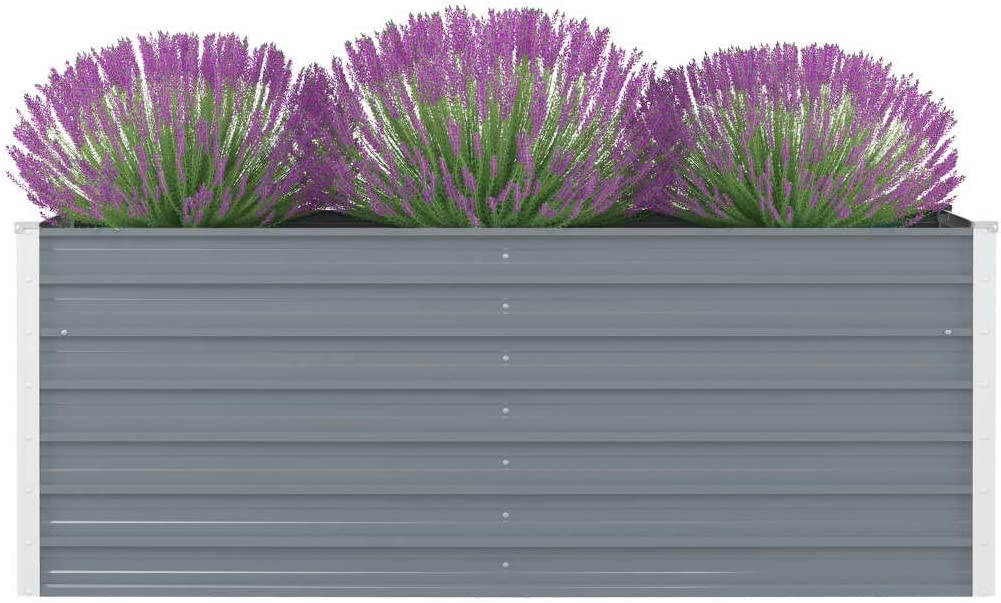 OUSEE Raised Garden Bed Steel Gray Galvanized 63