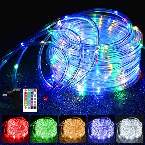 20M LED Schlauch Lichterkette Außen, 200er LED Weihnachtsbeleuchtung Außen IP68, 16 Farben Lichterkette Innen Strombetrieben, Patio Lichterschlauch mit Fernbedienung für Zimmer Halloween Weihnachten