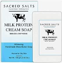 Sacred Salts Milk Protein Nourishing Handmade Shea Butter Soap | 100% Organic Natural Bathing Bar | Moisturizing Soap for Face & Body | 100g
