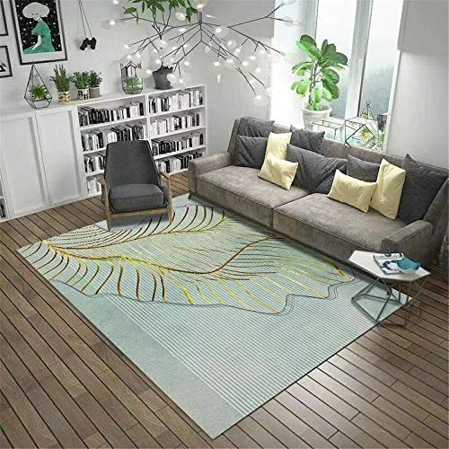WQ-BBB Rug Hygroscopicity game Coffee Table Carpet Fashionable green golden striped feather pattern Non-slip carpet hallway runner dosen't shed Rugs 200X300cm
