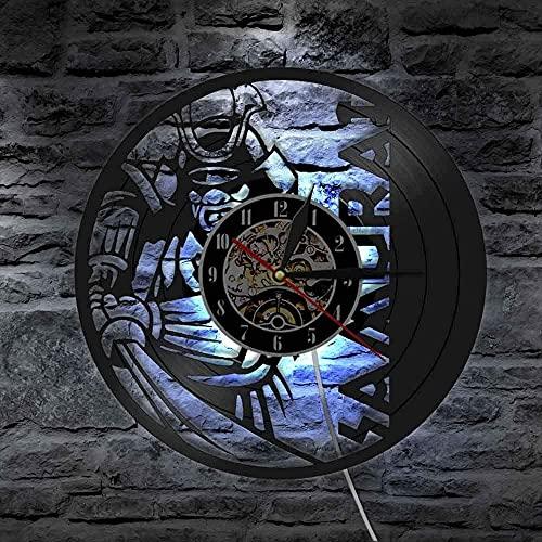 Reloj de pared de vinilo con luz LED de 7 colores, estilo guerrero japonés, decoración de pared de Samurai vintage Bushido para decoración de pared de la cultura Janpanese