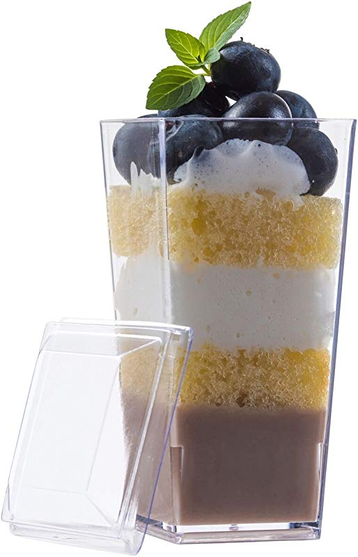 Zappy Elegant Tall Square Mini Cube 3oz Clear Plastic Tasting Sample Shot Glasses Parfait Souffle Jello Mini Dessert Cups Dessert Glasses 3 Oz Shooter Tumbler Party Cups Bowls With Lids 40 Ct