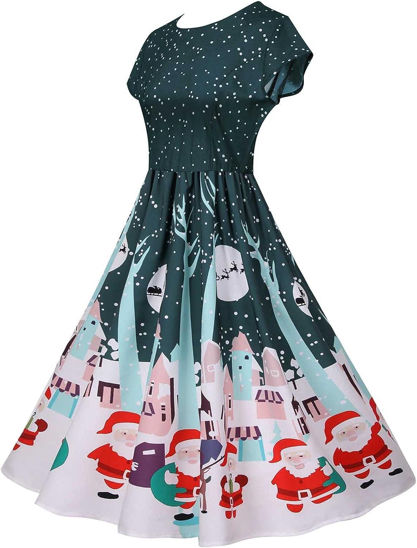 Women Short Sleeve Swing Dresses,Casual Vintage Crewneck Christmas Print Party Knee Length Pleated A Line Skeater Dress