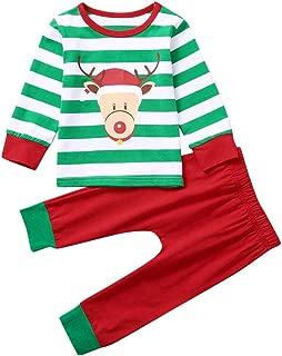 iLOOSKR Christmas Warm Baby Boys Girls Christmas Cartoon Striped Printed Tops Pants Set Outfits