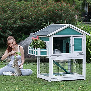 Petsfit 2 Story Rabbit Hutch with Trays Outdoor Weatherproof Bunny Cage with Openable Roof