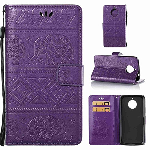 Ycloud PU Leder Tasche für Motorola Moto E4 Plus (5.5 Zoll) Wallet Flip Hülle mit Stent-Funktions Kartenfächer Entwurf Elefant Geprägtes Muster Lila Hülle