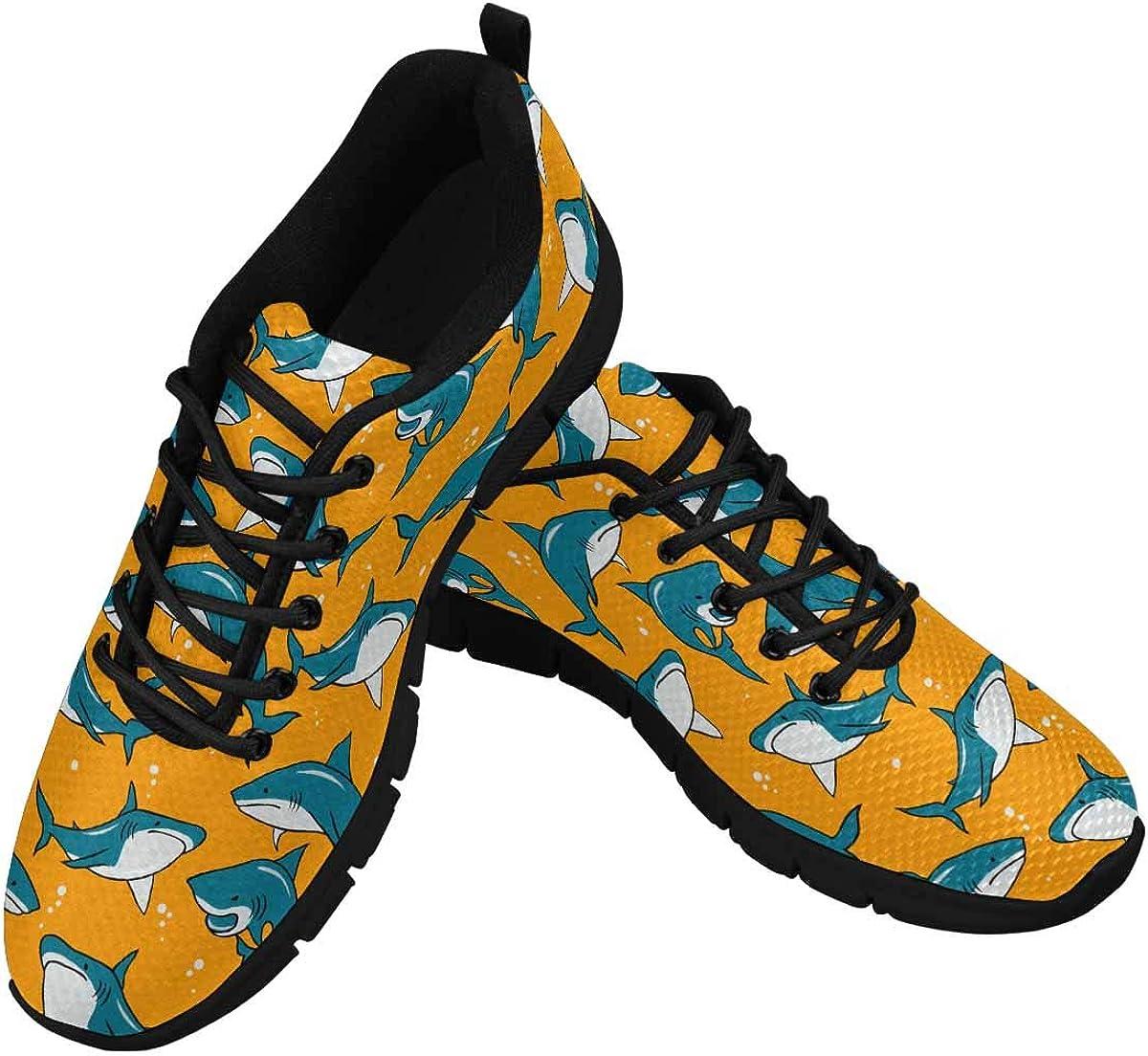 INTERESTPRINT Cartoon Sharks on Orange Background Women's Walking Shoes Lightweight Casual Running Sneakers