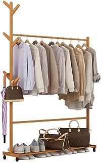 QNDDDD Portemanteau, Porte-Manteau Porte-Manteau Vêtements Multi-Fonctionnels Rack Bamboo Affichage À Poser Au Sol Support...