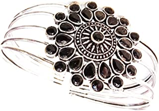 Mamta women's Designer Silver Oxidized Shiva Trishul Rudraksha Damroo Kada Bracelet Bangle for Men and Boys