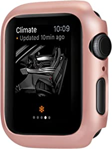 Leotop Compatible with Apple Watch Series 6 5 4 SE Case 44mm 40mm, Super Thin Bumper Protector PC Hard Cover Lightweight Slim Shockproof Accessories Matte Frame Compatible iWatch (Rose Gold, 44mm)