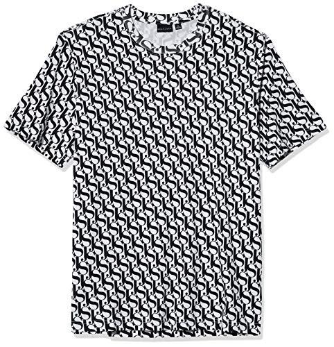 Sean John Men's Short Sleeve Crew Neck SJ All Over Print Tee, Jet Black, 3XL