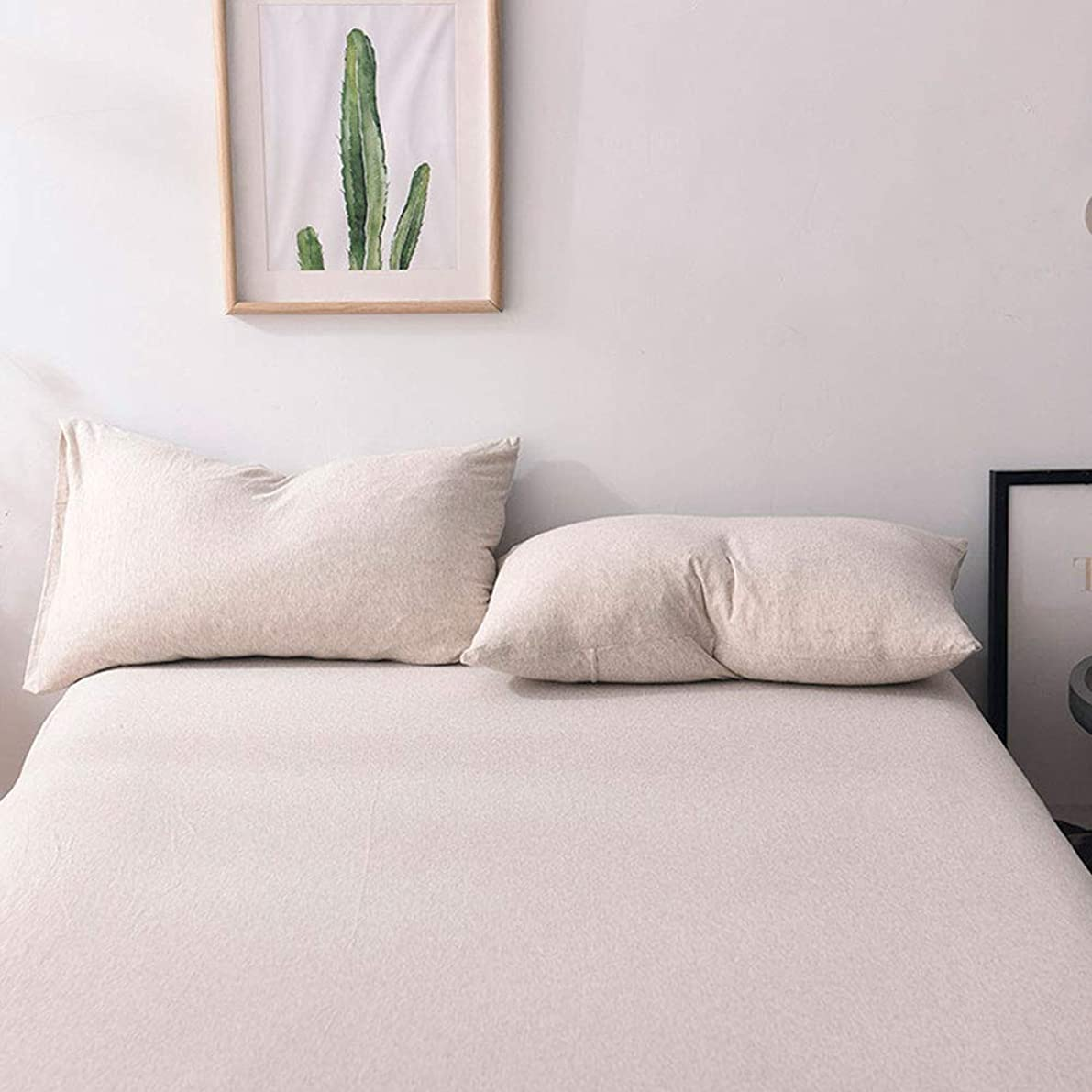 MisDress Jersey Knit Cotton 2 Pieces Pillow Cases Super Soft and Breathable(Queen, Light Coffee)