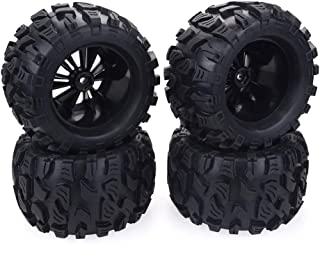 """2.8"""" RC PreGlued Tires 1/10 Scale 12mm Hex Larger Monster Truck Tires Tyre Remote Control Cars Tyre RC Wheel and Rim for HPI HSP Savage XS Tm Flux LRP, RC Car Accessories, Black 2 Pcs"""