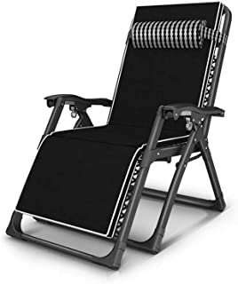 LLSS Garden Loungers and Recliners Zero Gravity Sun Lounger Adjustable Black Chair Outdoor Furniture Folding Bed For The B...