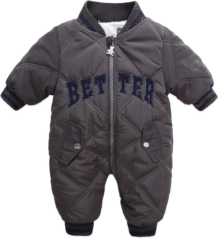Tengoait One Piece Snowsuit for Baby Boys Grils Snowsuit Romper Zipper Padding Jacket