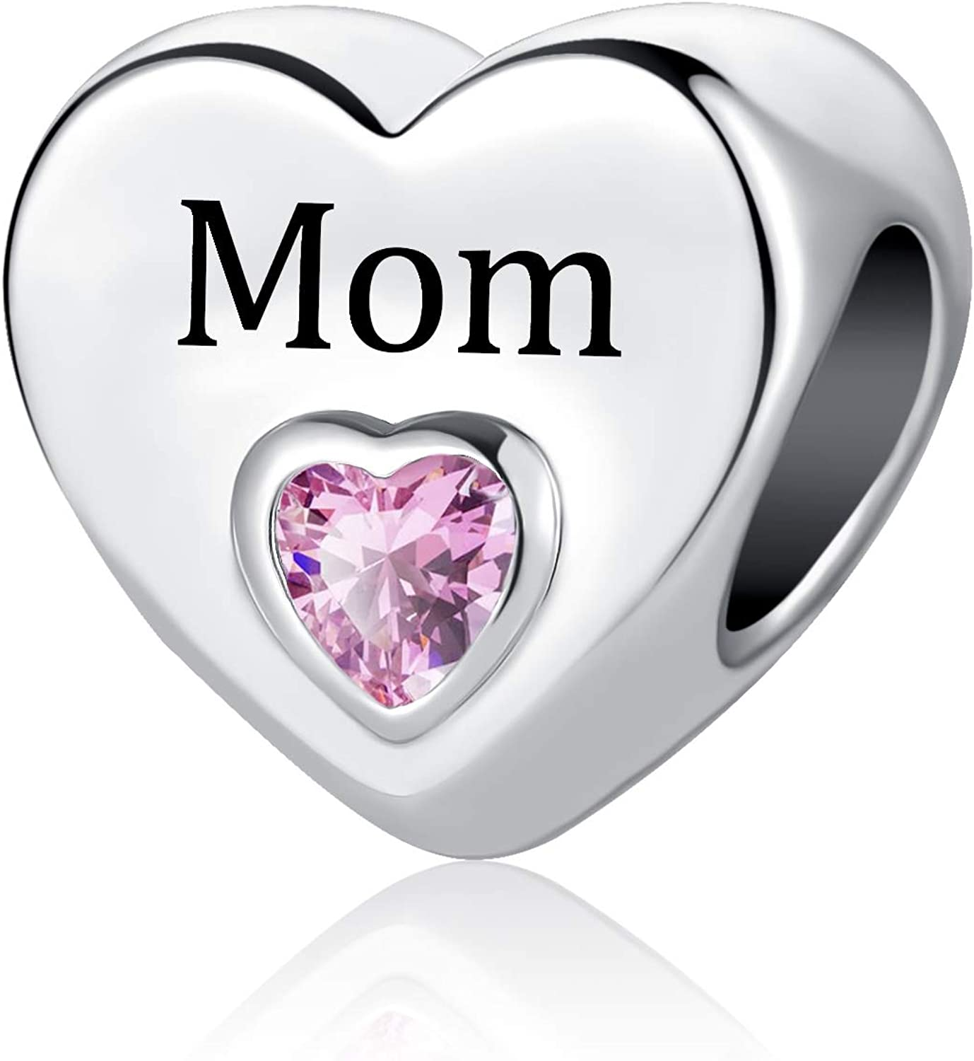 QeenseKc Mom Daughter Sister Wife Charm Family Forever Heart Love Cubic Zirconia Bead for Pandora Bracelet
