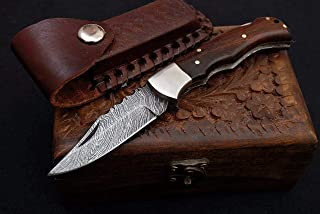 Noshra Wholesale Custom Made Real Wood Handle Damascus Steel Blade Folding Pocket Knife with Silver Bolster W/Case