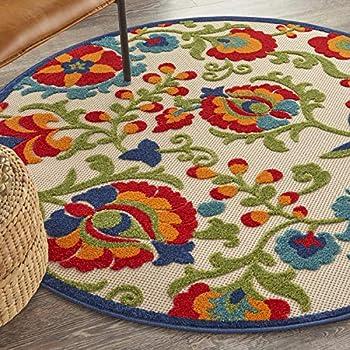 Nourison Aloha Indoor/Outdoor Multicolor 4' Round Area Rug