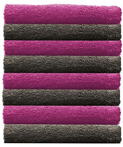 NatureMark NM-HT0701 8-er Spar-Pack Frottier Handtücher, 50 x 100 cm, 100% Baumwolle (Pink/Anthrazit)