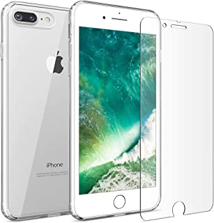 FlexGear iPhone 7 Plus 8 Plus case [Aura 360] Slim Clear Hard PC Back TPU Bumper and Glass Screen Protector, Compatible with iPhone 7/8 Plus (Clear)