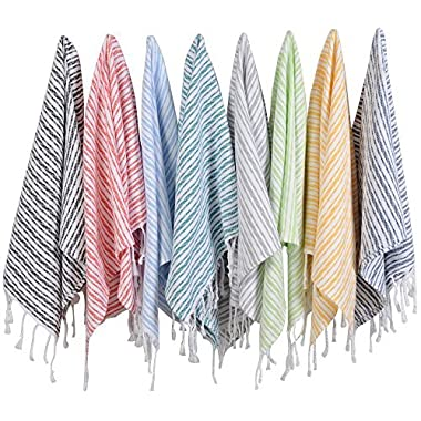 (SET of 8) Turkish Cotton Hand Face Head Guest Gym Towel Set Peshtemal Washcloth Kitchen Tea Towel Dish Cloth Set (MultiColor)