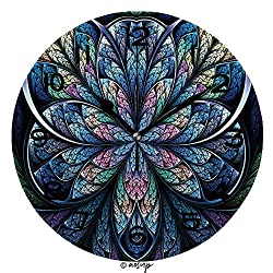 AmaUncle Print Round Wall Clock, 10 Inch Blue Fractal Flower, Digital Artwork for Creative Graphic Design Quiet Desk Clock for Home,Office,School No54144