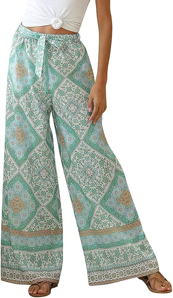 Akivide Women's Boho Floral Print Belted Summer Beach High Waist Wide Leg Pants Elastic Waist Trousers with Drawstring
