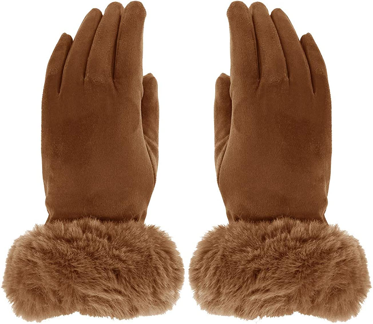Ladies Womens Lagenlook Plain Faux Fur Cuff Suede Effect Touch Screen Winter Gloves One Size