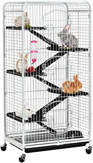 Yaheetech 52-inch 6 Level Large Metal Ferret Cage and Habitats Small Animal Hutch with 3 Front Doors/Feeder/Wheels for Bunny Chinchilla Squirrels Indoor Outdoor -White (Renewed)