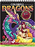 ColorIt Colorful Dragons Adult Coloring Book - 50 Single-Sided Designs, Thick Smooth Paper, Lay Flat Hardback Covers, Spiral Bound, USA Printed, Dragon Pages to Color