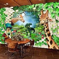 3Dポスター壁壁画壁紙キリン漫画動物子供部屋寝室の背景写真壁画アート壁紙-350x256cm