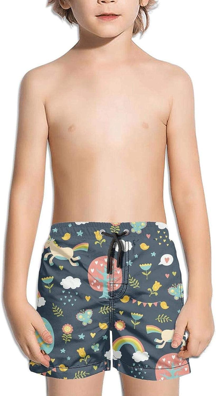 Boys Kids Lovely Cute Unicorns Flower Quick Dry Beach Swim Trunk Slim Fit Swimsuit Beach Shorts with Drawstring