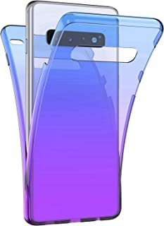 Surakey Cover Compatible with Samsung Galaxy S10 Plus Case,360 Degree Case Full Cover Soft Clear Transparent Full Body Coverage Protective Case Thin Bumper forGalaxy S10 Plus,Blue Purple