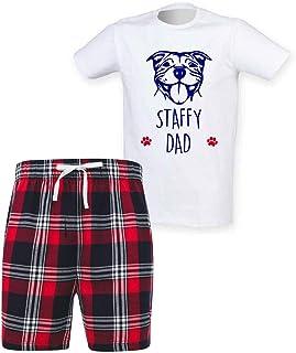 60 Second Makeover Limited Mens Staffy Dad Tartan Short Pyjama Set Family Staffordshire Bull Terrier
