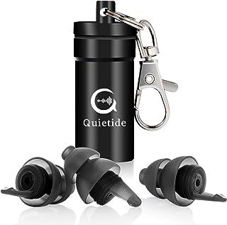 日本人向けの耳栓 Quietide 耳栓 安眠 防音 小さいサイズ フィルター搭載 遮音値32dB 睡眠 飛行機 仕事 勉強 水洗い可能 繰り返し使用可能 携帯ケース付き 一年保証 日本語説明書付 Q5 ブラック