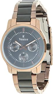 Venice F5016-IPR-IPB-B Two-Tone Stainless Steel Round Analog Watch for Women - Black and Bronze