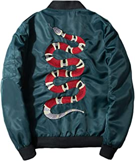 Men's Classic Snake-Embroidery Lightweight Flight Baseball Jacket Windbreaker