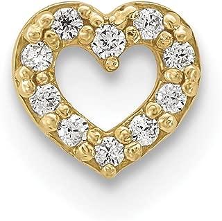 Lex & Lu 14k Yellow Gold 18 Gauge CZ Heart Labret/Face Jewelry BD117