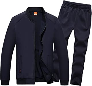 Luckyoung Men's Big Size Running Tracksuit Casual Baseball Jacket & Pants Sweat Suit