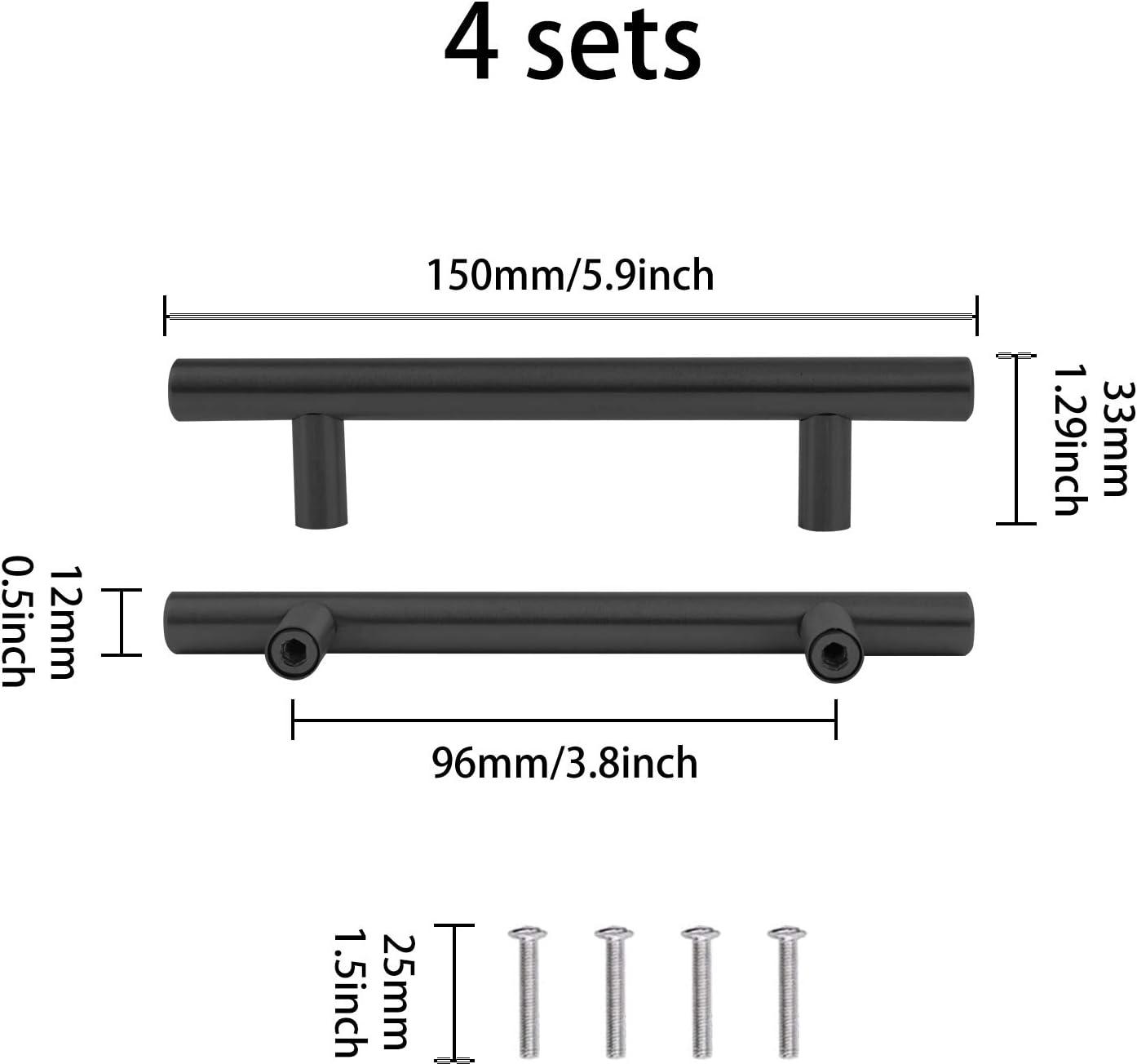 largeur 3,3cm porte de placard avec vis Lot de 8 poign/ées noires en r/ésine avec poign/ées en forme de plateau en acier inoxydable pour plateau de service en silicone tiroir de cuisine longueur 15cm