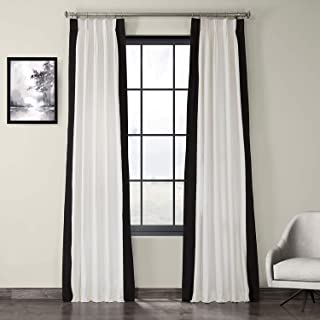 HPD Half Price Drapes PRCT-VC1716-84-FP Pleated Vertical Colorblock Curtain (1 Panel), 25 X 84, Fresh Popcorn and Black
