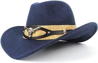 JAUROUXIYUJI New Fashion Cowboy Hat Ladies Men's Western Cowboy Hat Dad Gentleman Ladies Leather Sombrero (Color : Navy Blue, Size : 56-59cm)