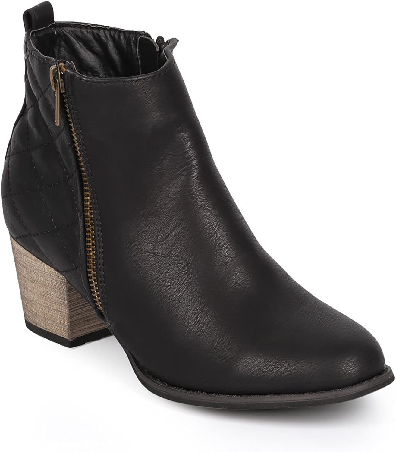 DBDK Women Quilted Leatherette Almond Toe Zipper Ankle Boot CI78