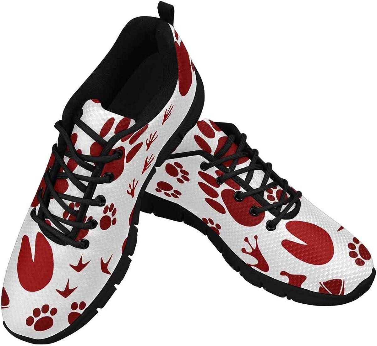 INTERESTPRINT Animal Footprint Track Women's Athletic Walking Shoes Comfort Mesh Non Slip