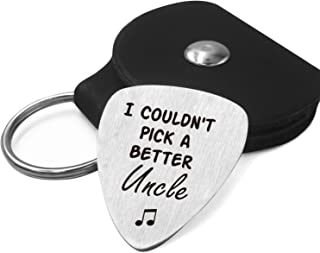 Best Uncle Guitar Pick Gifts - Stainless Steel Guitar Pick with Guitar Pick Holder Case - I Couldn't Pick a Better Uncle - Perfect Family Gift Ideas for Father's Day Birthday Christmas