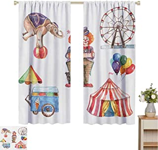 Mozenou Circus, Decor Curtains by, Circus Elements with Clown Elephant Balloons Ice Cream Cart Watercolor Illustration, Room Darkening Wide Curtains Multicolor