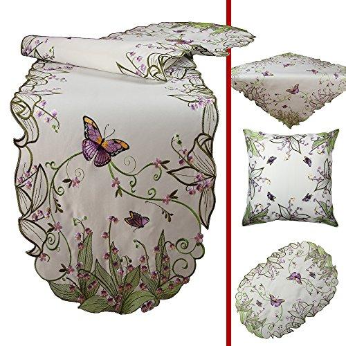 Quinnyshop Papillons magnifique et Fleurs lilas Broderie Housse de coussin 40 x 40 cm Optique de satin, Blanc
