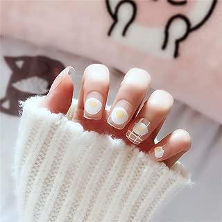 24 Pcs Cute Girls Egg Short False Nails Kawaii Transparent Fake Nails Simple With Glue Sticker
